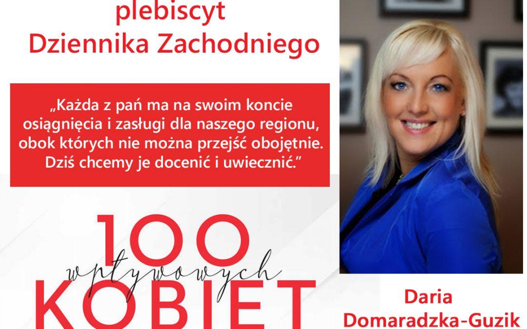 Plebiscyt Dziennika Zachodniego – Daria Domaradzka-Guzik w gronie 100 Wpływowych Kobiet woj. śląskiego!